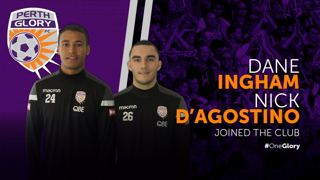 Perth Glory defender Dane Ingham and forward Nick D'Agostino